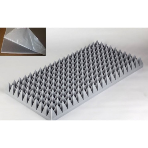 негорючая  акустическая панель  Пирамида ECHOTON FIREPROOF 100x50x7cm  из материала  BASOTECT серый с адгезивным слоем