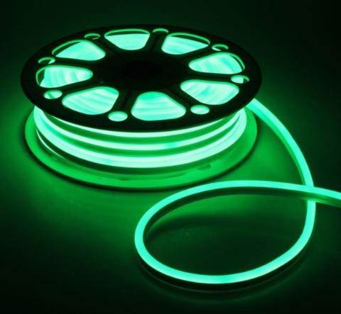 Гибкий неон 8х16 мм, светодиодный | Зеленый - 50м | 12 вольт
