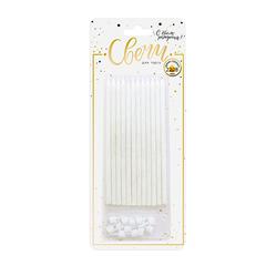Свечи тортовые классические XL с золотым глиттером с держателями 15 см, 12 шт.