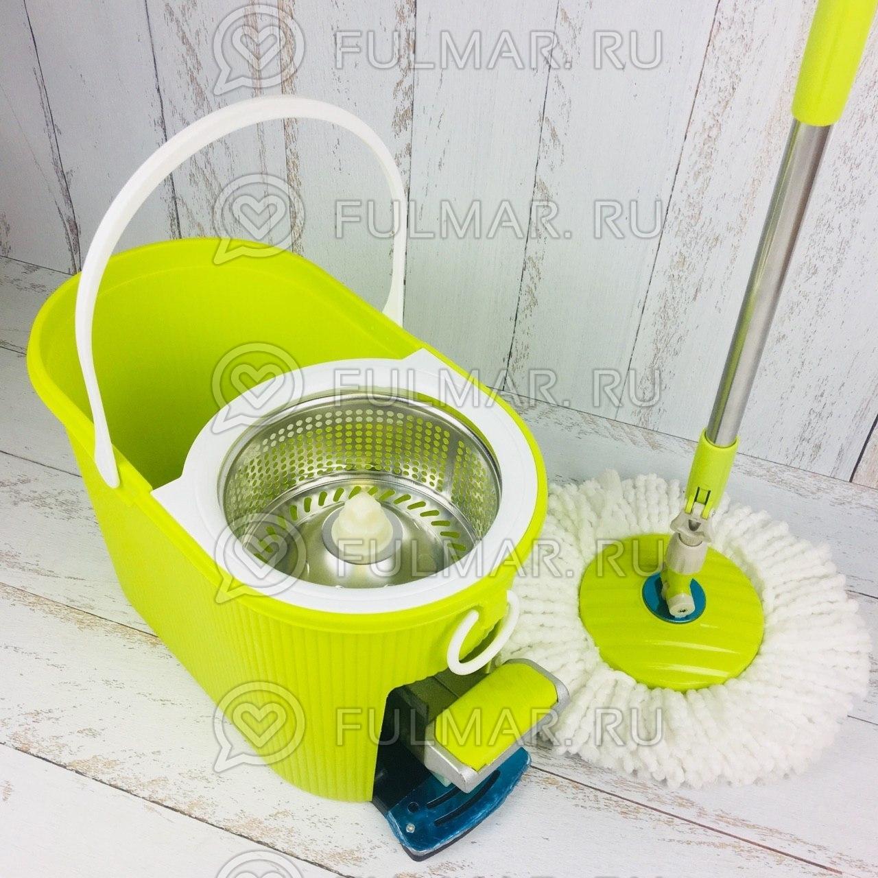 Швабра и ведро с отжимом Spin Mop 7,5 литров со стальной педалью Цвет Салатовый фото