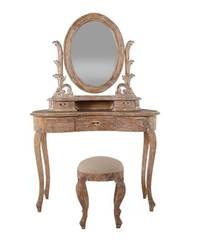 "Туалетный столик с банкеткой ""Королева (QUEEN) ANNE"" —  Античный бежевый (MK-2506-AB)"