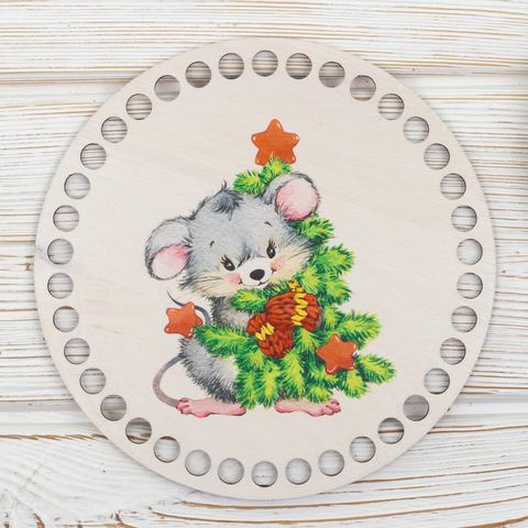 """Круглая заготовка с рисунком """"Новогодняя мышка 2"""" 15см из фанеры"""