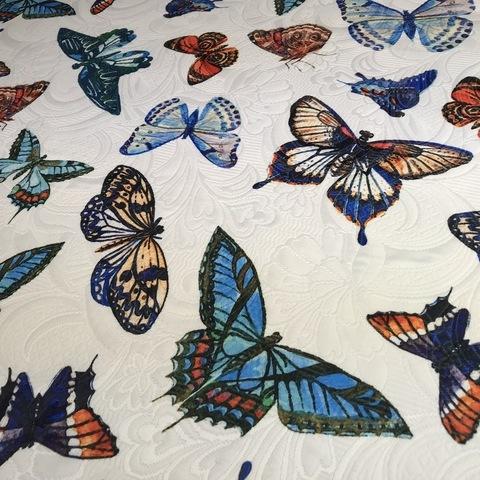 Ткань жаккард  с бабочками 3132