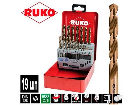 Набор сверл по металлу 1-10мм 19шт DIN338 HSSE-Co5 Ruko 215214