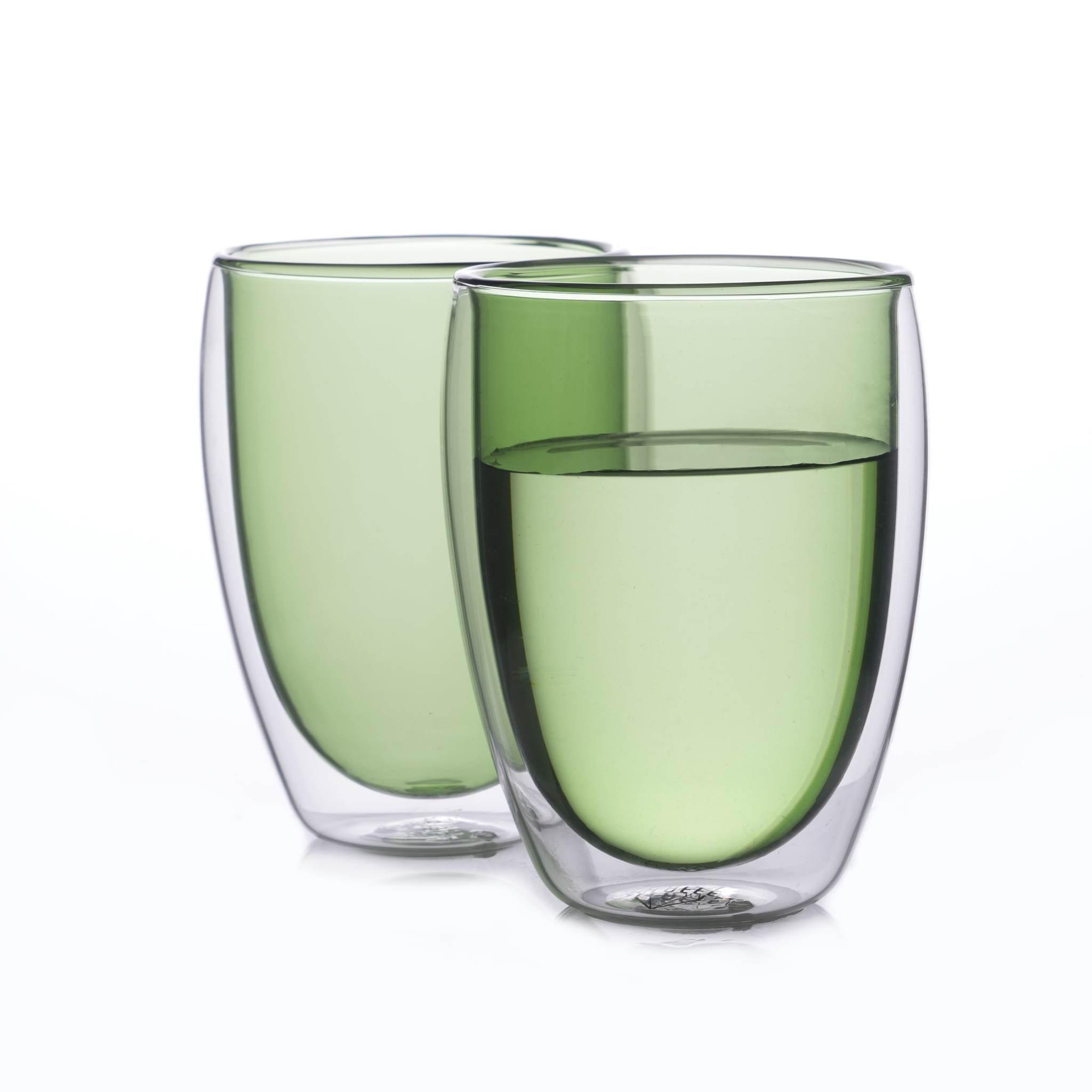 Наборы-Акции Набор стаканов из двойного стекла зеленого цвета 350 мл, 2 шт. зеленый2-min.jpg