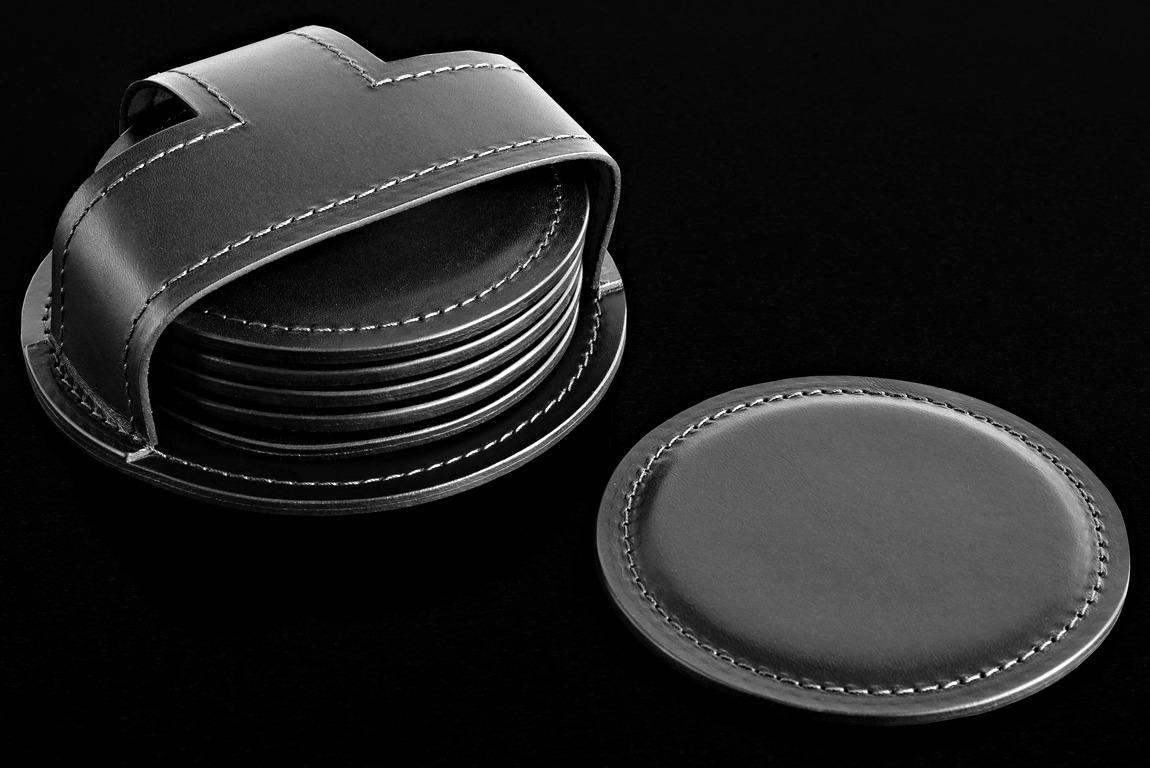 Набор из 6 костеров в чехле LUXE из кожи Full Grain Black