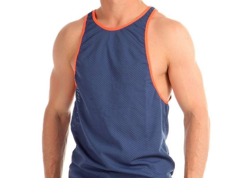 Майка мужская сеточка синяя с оранжевой окантовкой Boefje 35764