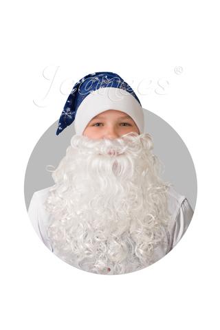 Колпак Деда Мороза с бородой (синий плюш со снежинками)