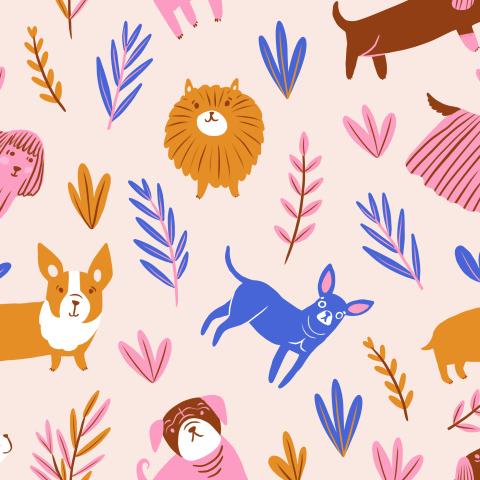 Милые собачки с растениями на персиковом фоне