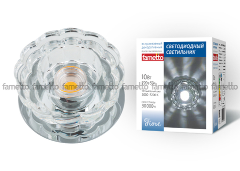 DLS-F301 10W CHROME/CLEAR Светильник декоративный встраиваемый светодиодный 10Вт ТМ