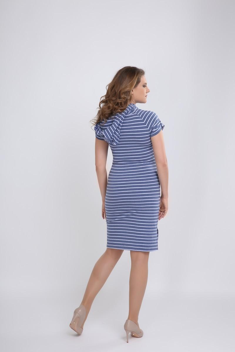 Фото платье для беременных Magica bellezza, трикотажное от магазина СкороМама, синий в полоску, размеры.