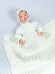 Вязаный плед для новорожденного Вязка айвори