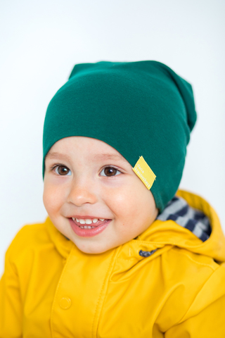 детская шапка хлопковая гладкая тонкая сине-зеленая