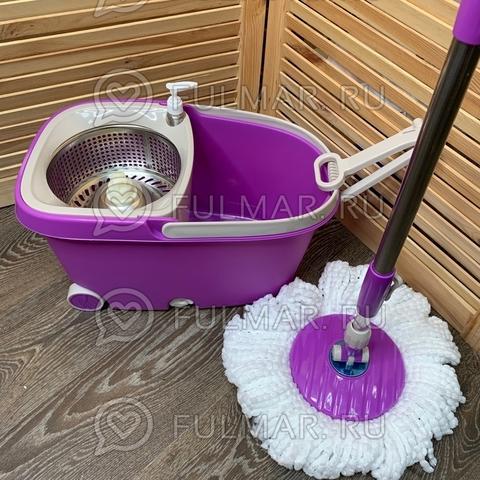 Швабра и ведро с отжимом на 2 колесиках с ручкой Spin Mop Wheels Mini Фиолетовое
