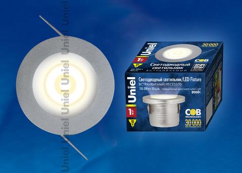 ULM-R02-1W/WW IP20 Sand Silver картон Светильник светодиодный встраиваемый, 110-240В. Материал корпуса алюминий, цвет матовое серебро. Теплый белый свет.