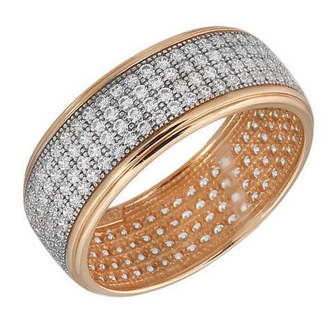 п1-393-1- Кольцо из золоченного серебра усыпанное фианитами