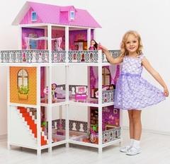 PAREMO Трехэтажный угловой кукольный дом (6 комнат, 3 куклы) (PPCD116-07)