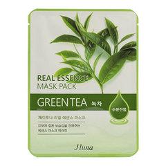 Juno Real Essence Mask Pack Green Tea - Маска тканевая с зеленым чаем