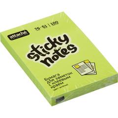Стикеры Attache Selection 76x51 мм неоновые зеленые (1 блок, 100 листов)