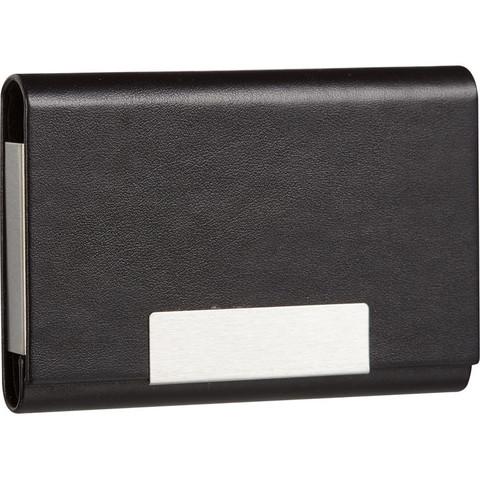 Визитница карманная на 20 визиток из искусственной кожи черного цвета (80102)