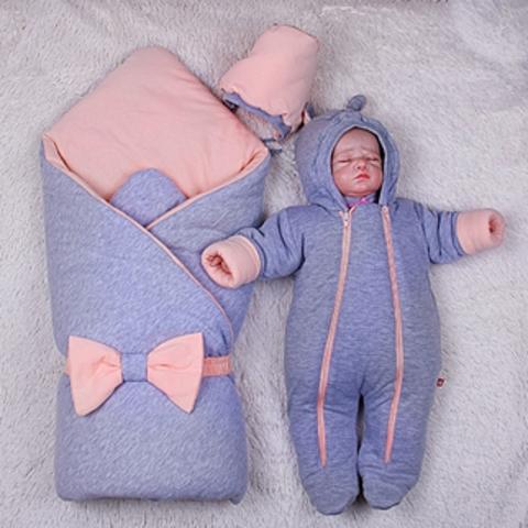 Зимний набор на выпсику новорожденных из роддома Mini (персик)