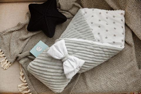 Конверт одеяло для новорожденного плюш Stripse (Серо-белый)