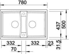 Мойка Blanco Lexa 8 - схема (вид сверху)