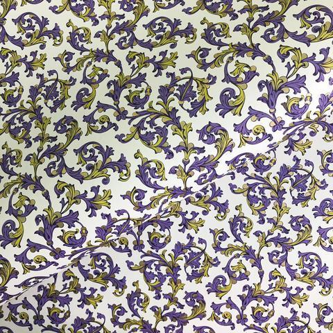 Бумага декоративная упаковочная Флорентийская фиолетовая с жёлтым
