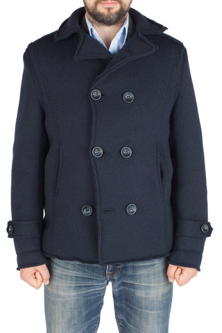 Двубортное тёмно-синее полушерстяное пальто