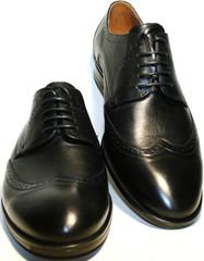Туфли мужские классические, черная кожа дерби броги Икос