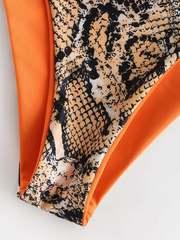 купальник на одно плечо змеиный принт оранжевый двусторонний