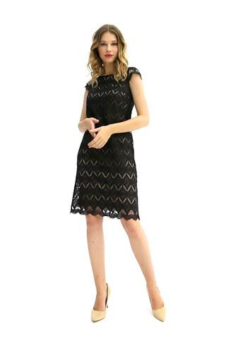 Фото кружевное черное платье до колена - Платье З381-604 (1)