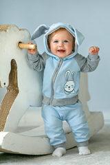 Лапушка. Комплект кофточка и штаны из капитония Зайка, голубой вид 2