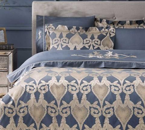 Постельное белье BERTA ЖАККАРД с вышивкой синий TIVOLYO HOME Турция