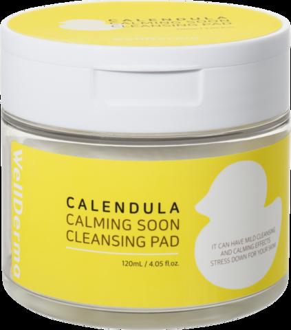 WELLDERMA Подушечки косметические Calendula Calming Soon Cleansing Pad, 120 мл