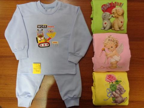 Пижама д/детей однотонная с аппликацией  (футер)