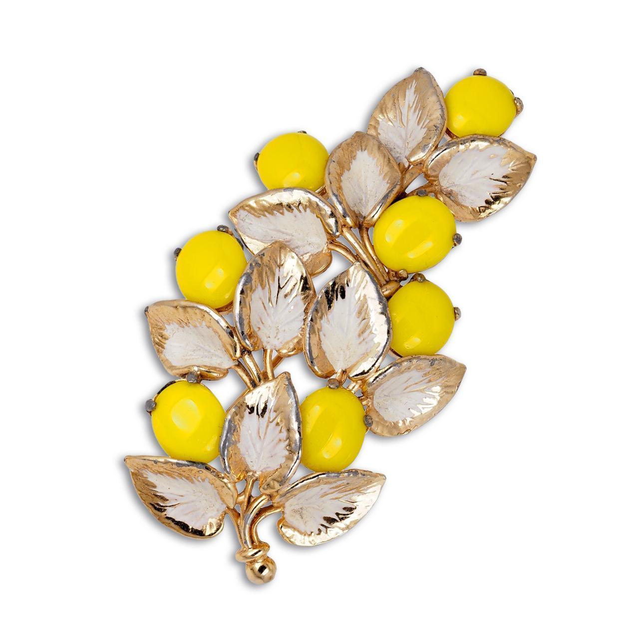Яркие жёлто-белые клипсы Schiaparelli 1950-е⠀