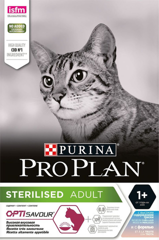 Pro Plan сухой корм для стерилизованных кошек (треска, форель) 3кг