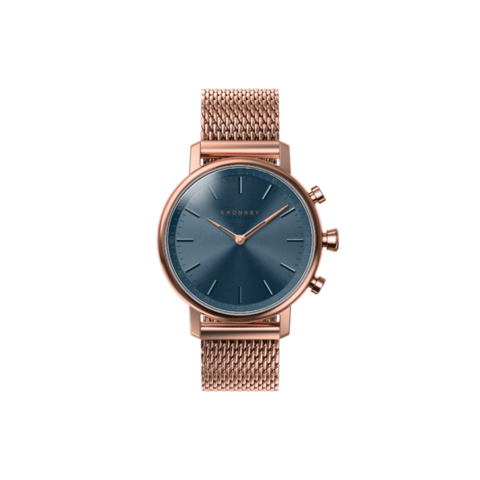 Kronaby Rose Gold Mesh Carat Blue Metal