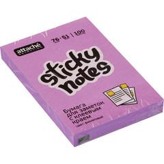 Стикеры Attache Selection 76x51 мм неоновые фиолетовые (1 блок, 100 листов)