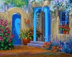 Цветущий дворик-раскраски  по номерам