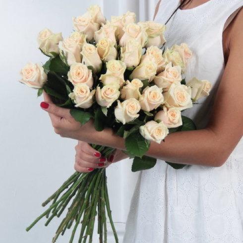 Букет 25 кремовых роз Талеа