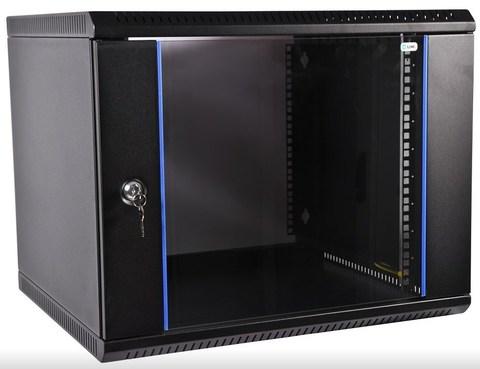 Шкаф ЦМО телекоммуникационный настенный разборный 12U (600 × 520) дверь стекло, цвет черный ЦМО ШРН-Э-12.500-9005