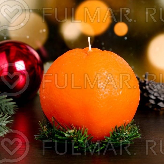 Большая свеча подарочная Апельсин на подставке ёлочке, 330 г фото