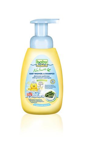 Детское средство для купания и шампунь Babyline Natur  250мл c морскими водорослями
