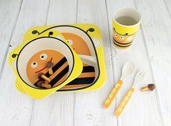 Комплект детской посуды из бамбука Пчелка