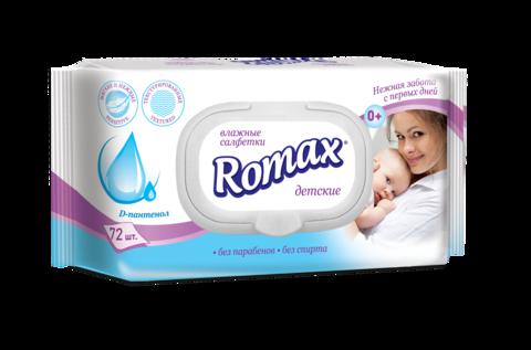 Romax Детские влажные cалфетки с пантенолом 72шт