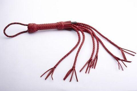 Красная кожаная плеть с хлопушками на кончиках
