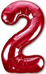 Р Цифра, 2, Slim, Красный, 40''/102 см, в упаковке 1 шт.