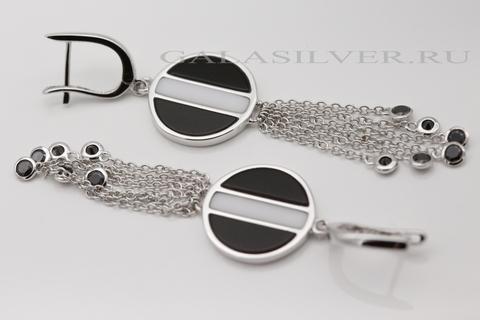Серьги с агатом из серебра 925